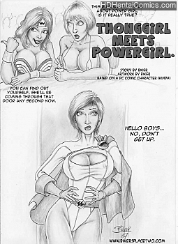 Thong Girl Meets Power Girl hentai comics porn